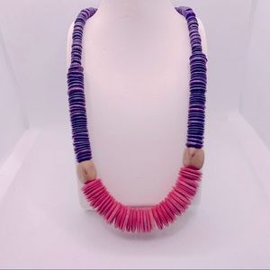 Vintage Wood Disc Bead Boho Pink Purple Necklace